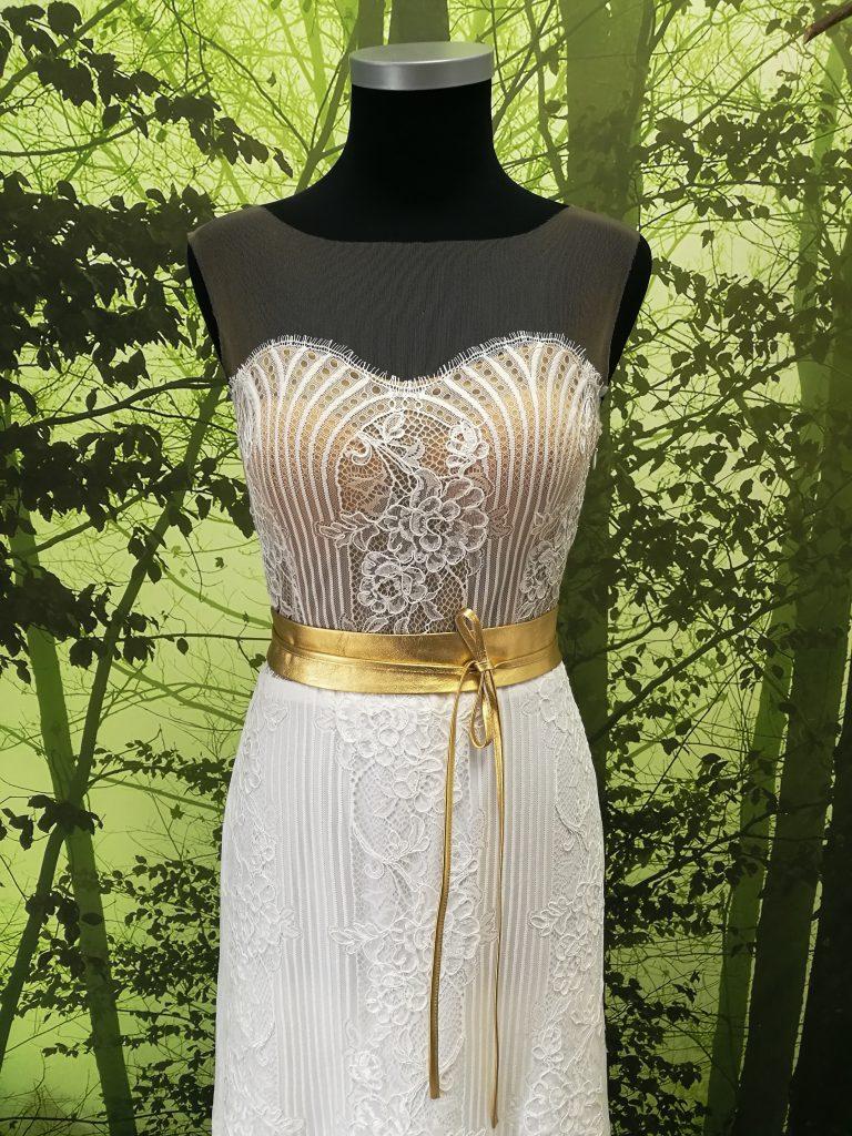Brautgürtel zum Binden aus Leder in Gold