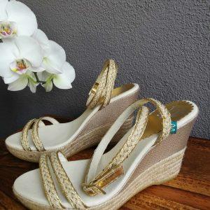 Brautschuhe Gold mit Keilabsatz