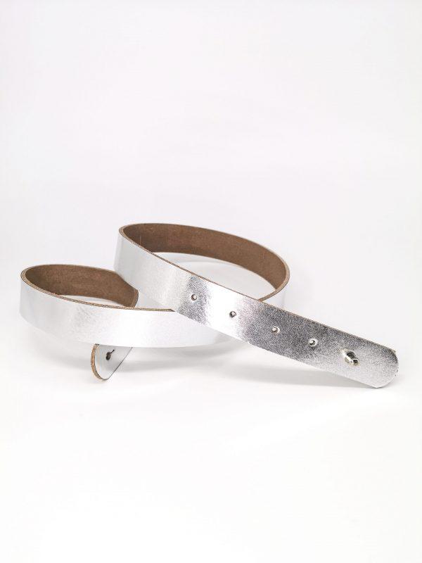 Brautgürtel Leder Silber